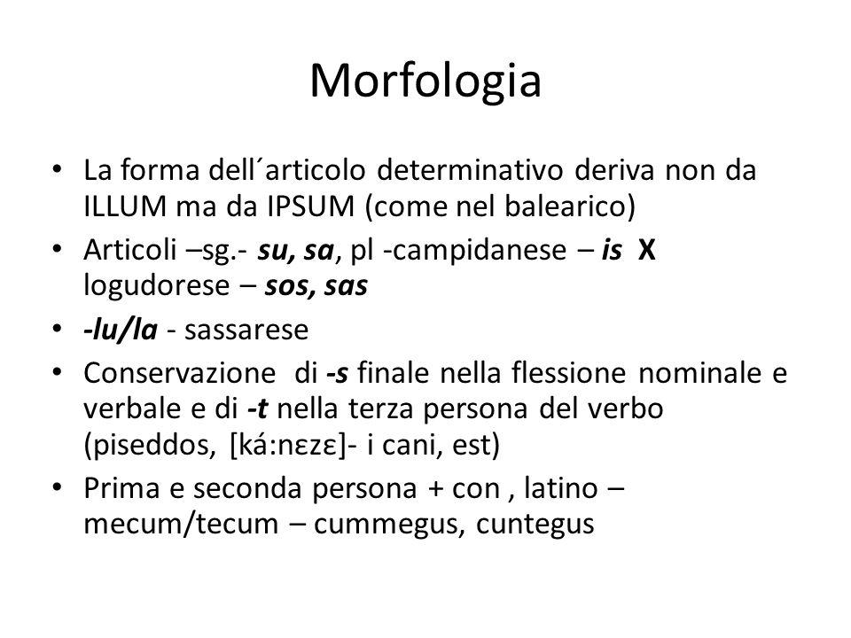Morfologia La forma dell´articolo determinativo deriva non da ILLUM ma da IPSUM (come nel balearico) Articoli –sg.- su, sa, pl -campidanese – is X log