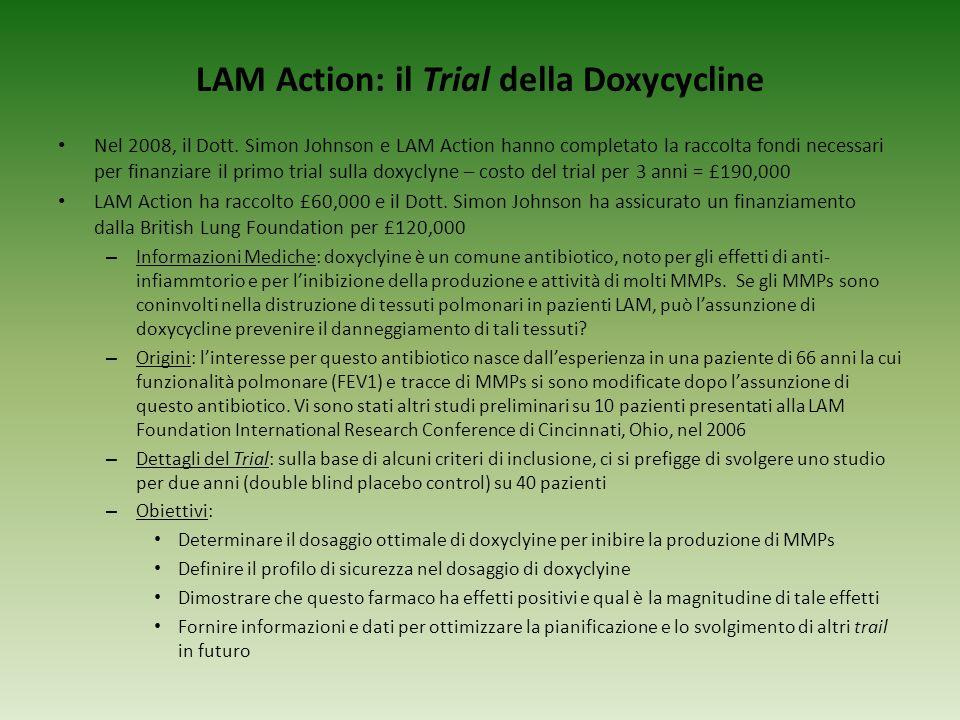 LAM Action: il Trial della Doxycycline Nel 2008, il Dott. Simon Johnson e LAM Action hanno completato la raccolta fondi necessari per finanziare il pr