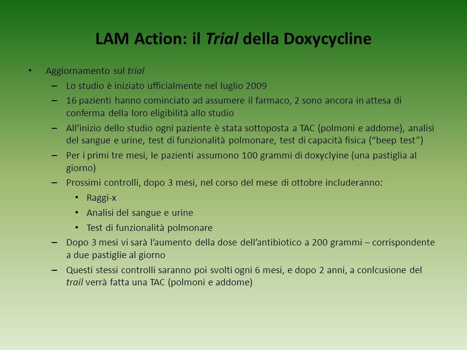 LAM Action: il Trial della Doxycycline Aggiornamento sul trial – Lo studio è iniziato ufficialmente nel luglio 2009 – 16 pazienti hanno cominciato ad