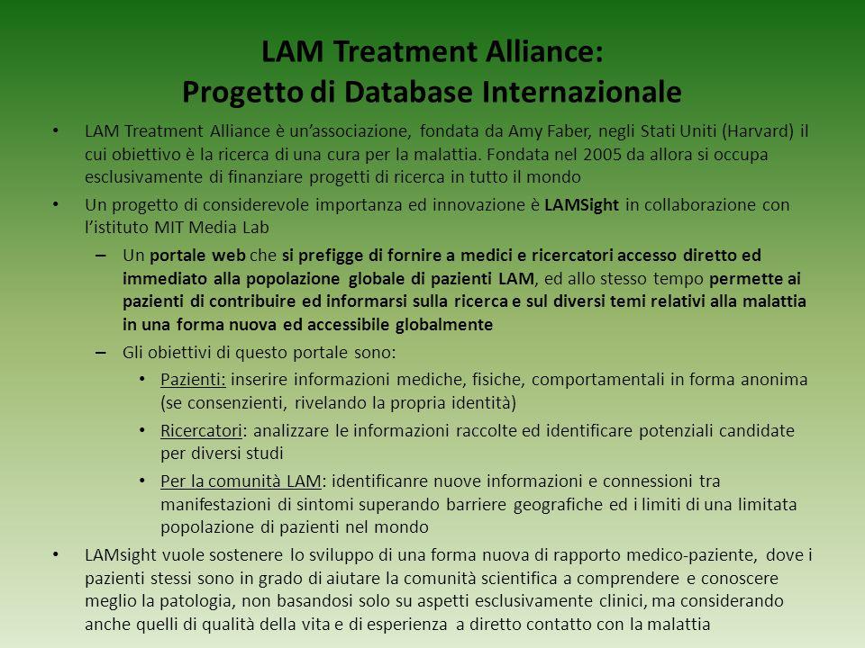 LAM Treatment Alliance: Progetto di Database Internazionale LAM Treatment Alliance è unassociazione, fondata da Amy Faber, negli Stati Uniti (Harvard)