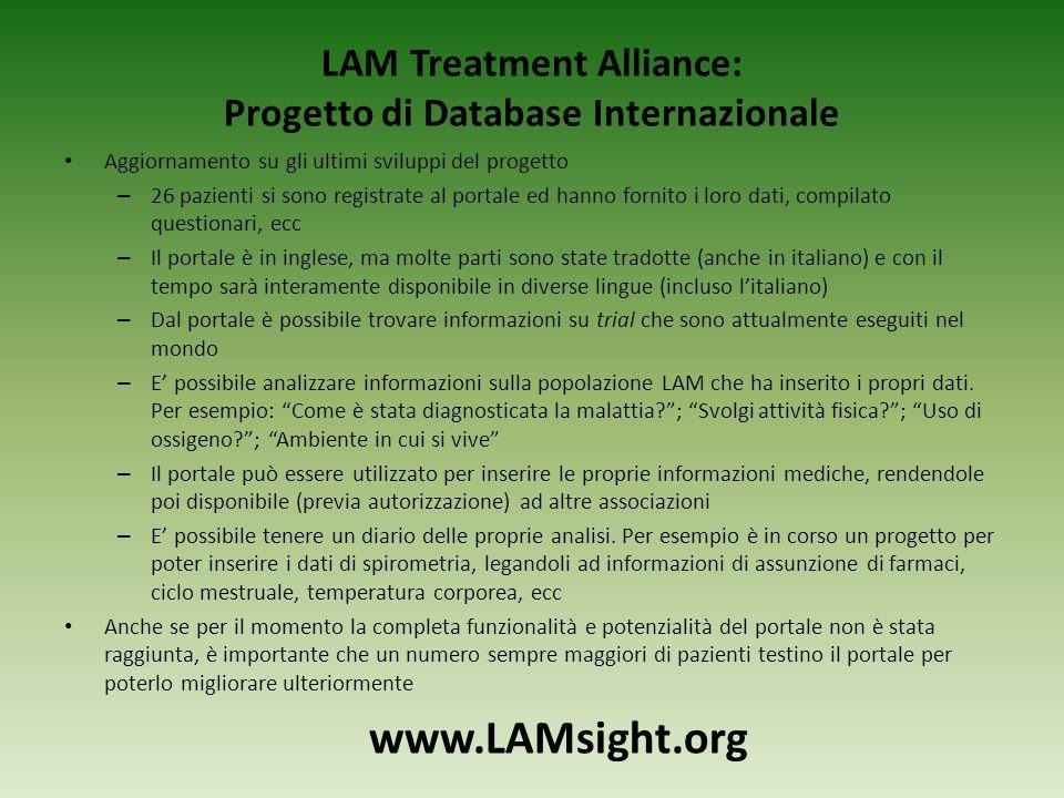 LAM Treatment Alliance: Progetto di Database Internazionale Aggiornamento su gli ultimi sviluppi del progetto – 26 pazienti si sono registrate al port
