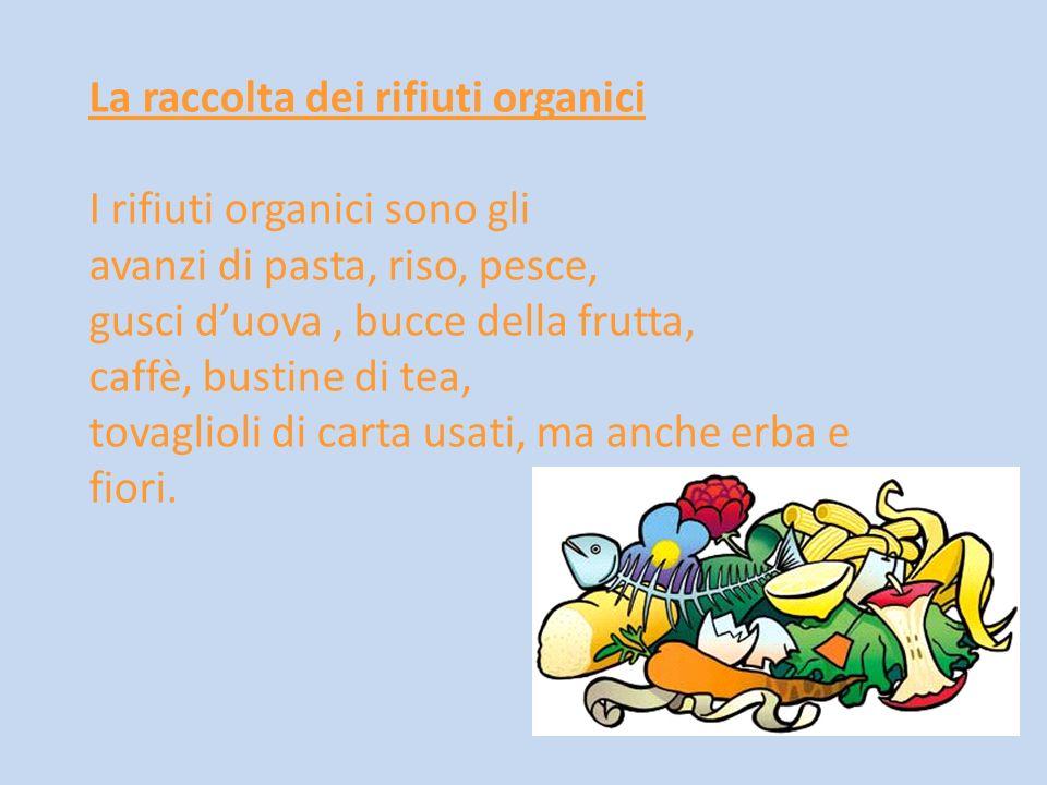 La raccolta dei rifiuti organici I rifiuti organici sono gli avanzi di pasta, riso, pesce, gusci duova, bucce della frutta, caffè, bustine di tea, tov