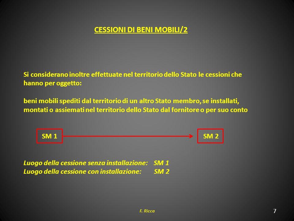 7 F. Ricca CESSIONI DI BENI MOBILI/2 Si considerano inoltre effettuate nel territorio dello Stato le cessioni che hanno per oggetto: beni mobili spedi