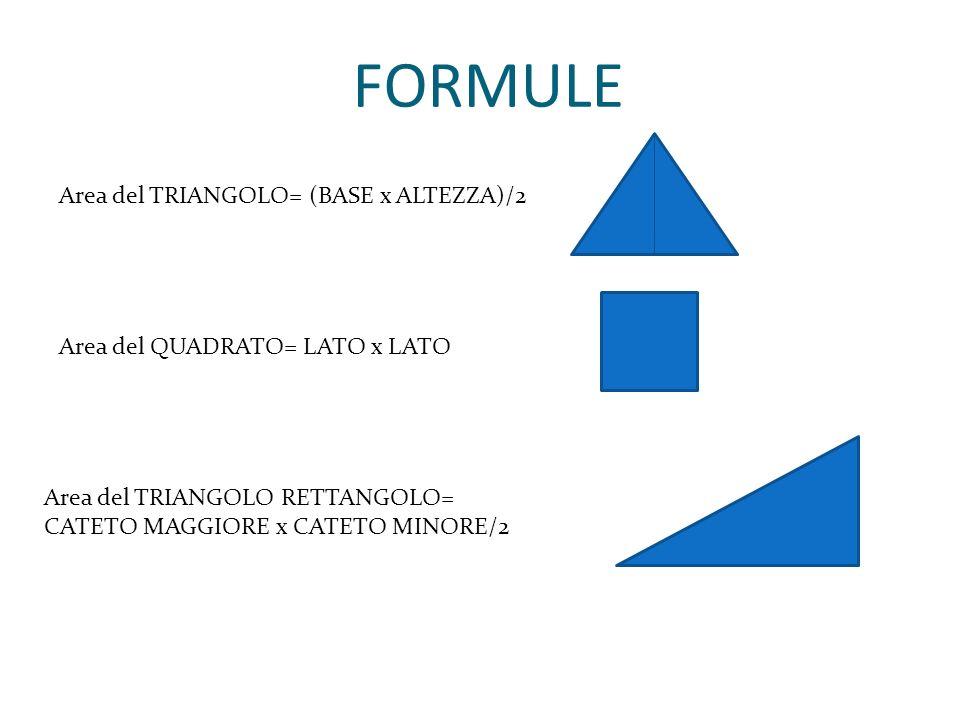 FORMULE Area del QUADRATO= LATO x LATO Area del TRIANGOLO RETTANGOLO= CATETO MAGGIORE x CATETO MINORE/2 Area del TRIANGOLO= (BASE x ALTEZZA)/2