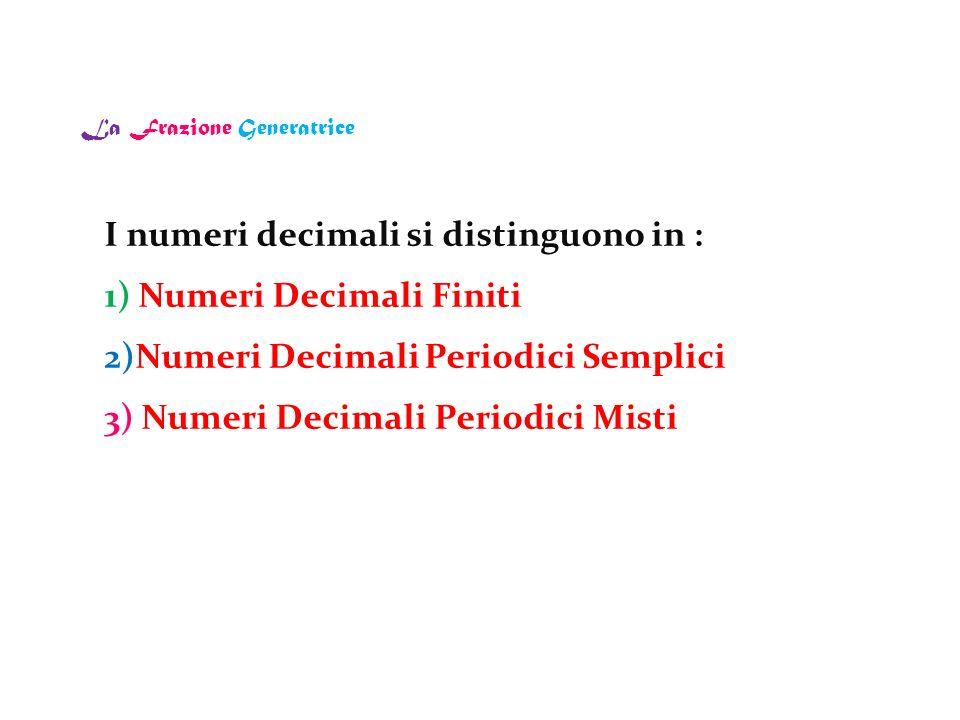 La Frazione Generatrice I numeri decimali si distinguono in : 1) Numeri Decimali Finiti 2)Numeri Decimali Periodici Semplici 3) Numeri Decimali Period