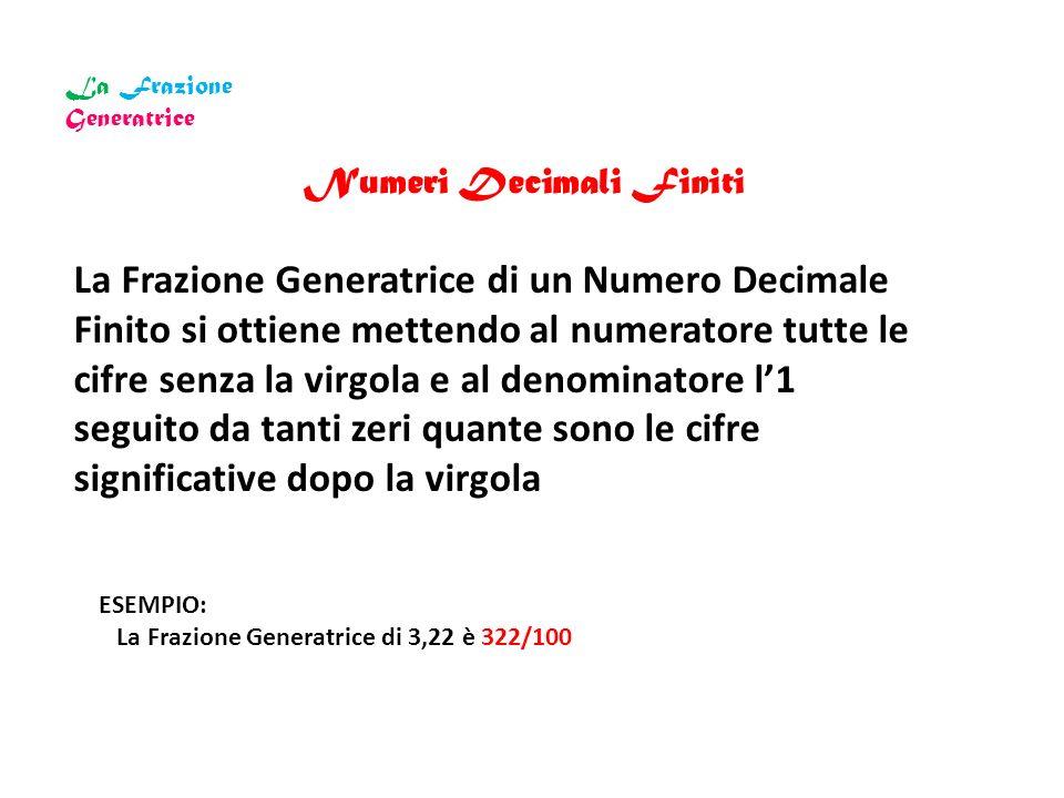 La Frazione Generatrice Numeri Decimali Finiti La Frazione Generatrice di un Numero Decimale Finito si ottiene mettendo al numeratore tutte le cifre s