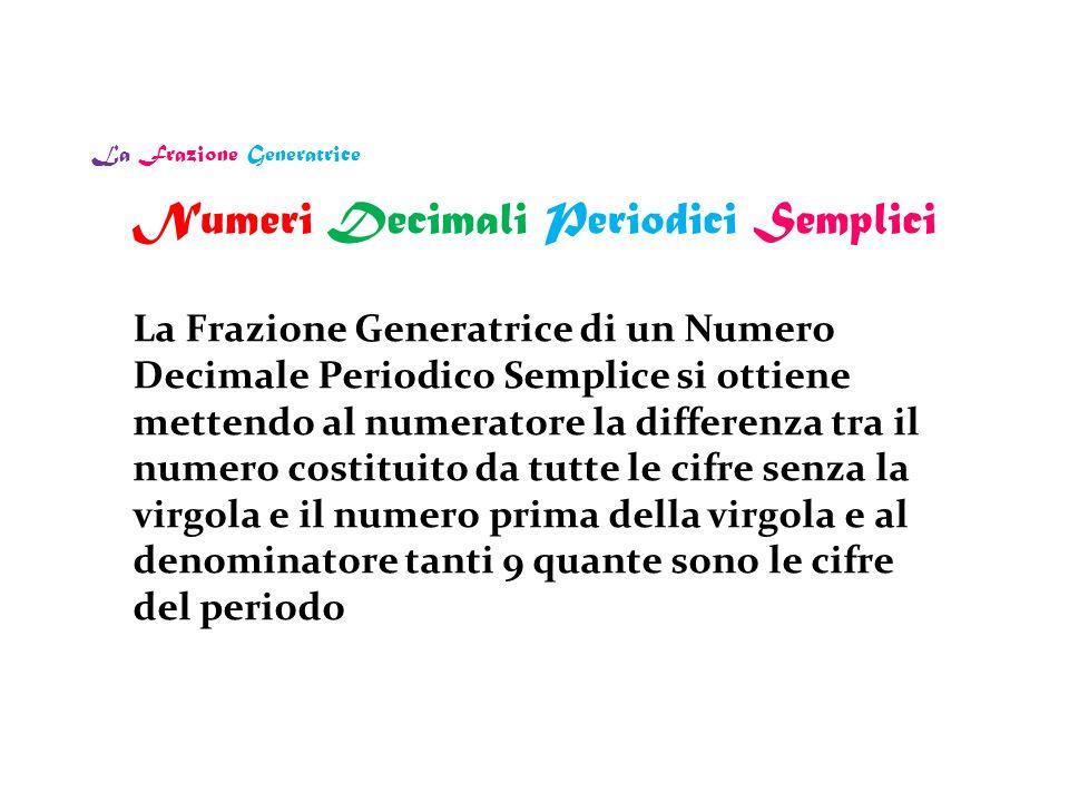 La Frazione Generatrice La Frazione Generatrice di un Numero Decimale Periodico Semplice si ottiene mettendo al numeratore la differenza tra il numero