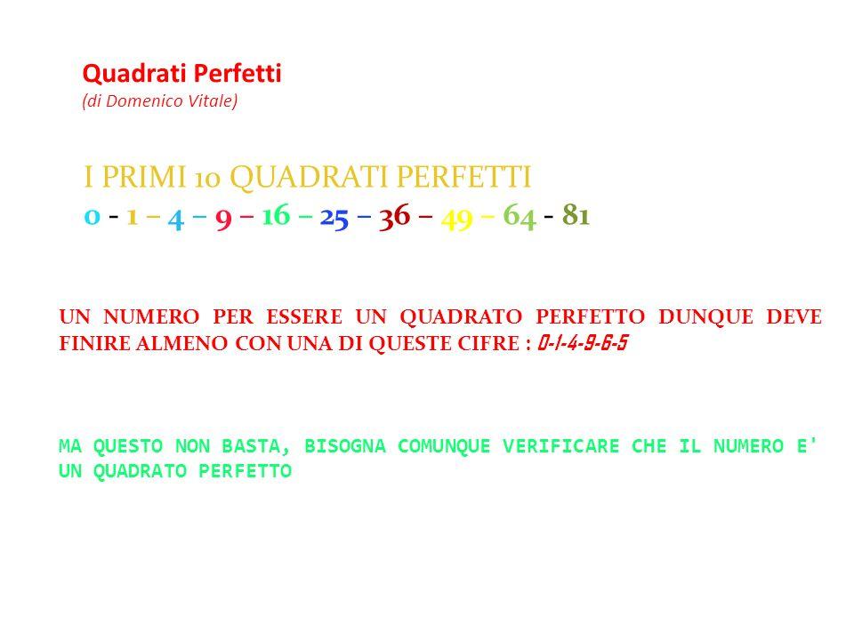 Quadrati Perfetti (di Domenico Vitale) I PRIMI 10 QUADRATI PERFETTI 0 - 1 – 4 – 9 – 16 – 25 – 36 – 49 – 64 - 81 UN NUMERO PER ESSERE UN QUADRATO PERFE