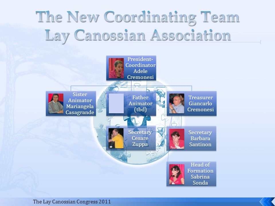 The Lay Canossian Congress 2011 President- Coordinator Adele Cremonesi Sister Animator Mariangela Casagrande Father Animator (tbd) Secretary Cesare Zu