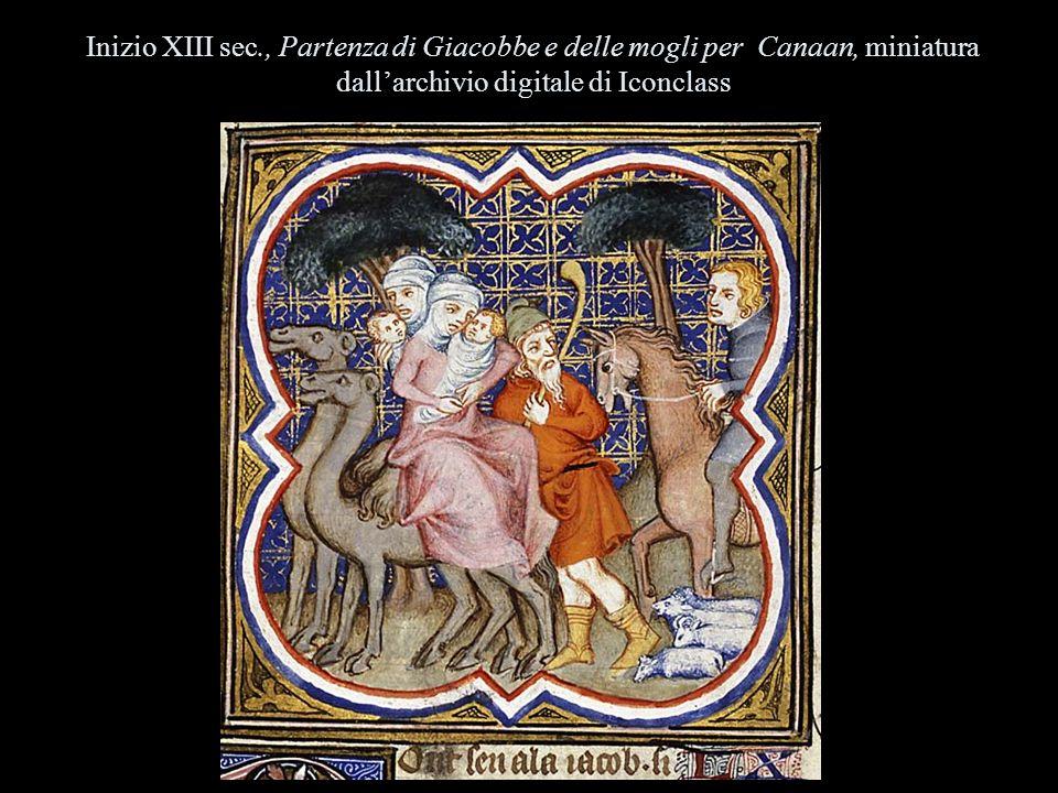 Inizio XIII sec., Partenza di Giacobbe e delle mogli per Canaan, miniatura dallarchivio digitale di Iconclass