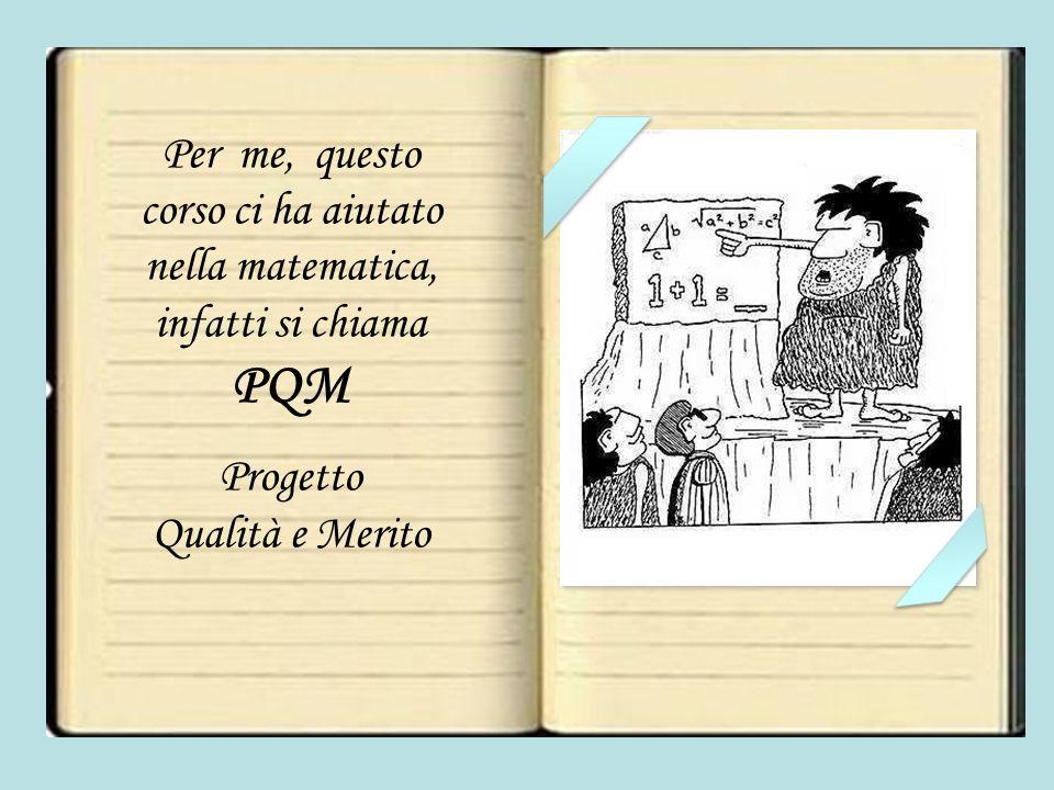 Per me, questo corso ci ha aiutato nella matematica, infatti si chiama PQM Progetto Qualità e Merito