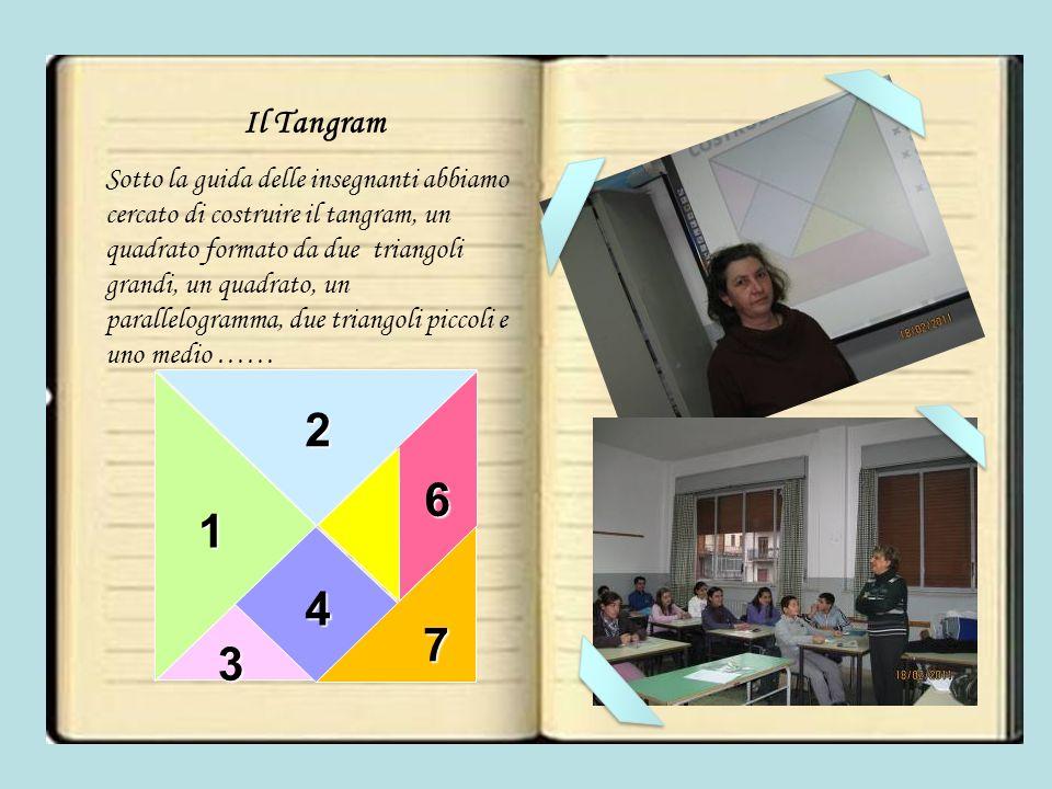 Il Tangram Sotto la guida delle insegnanti abbiamo cercato di costruire il tangram, un quadrato formato da due triangoli grandi, un quadrato, un parallelogramma, due triangoli piccoli e uno medio …… 2 3 4 5 6 7 1