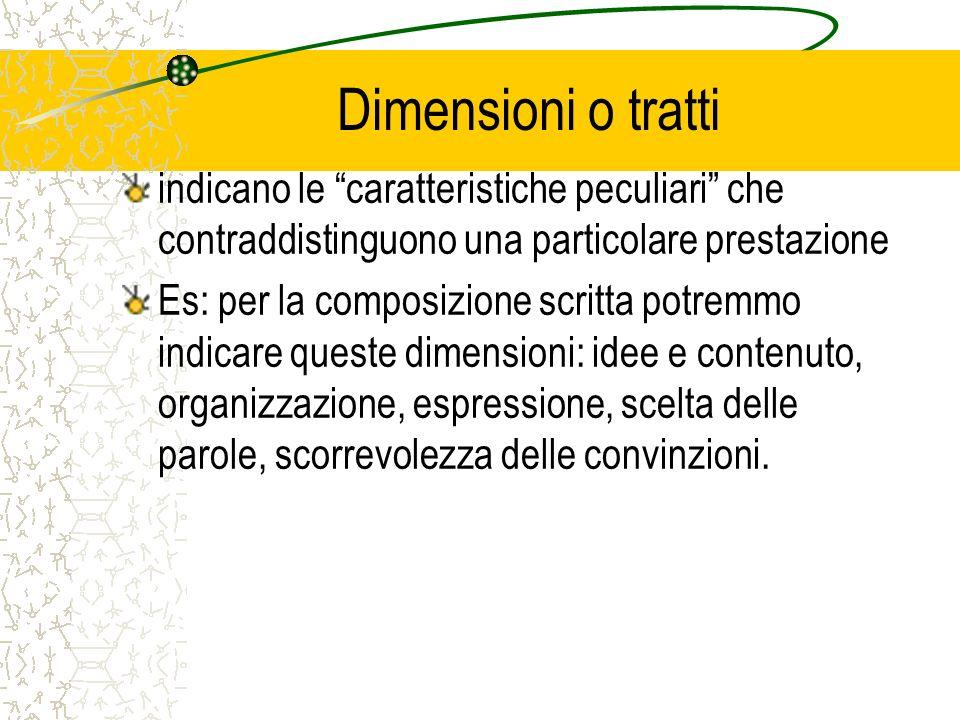 Dimensioni o tratti indicano le caratteristiche peculiari che contraddistinguono una particolare prestazione Es: per la composizione scritta potremmo