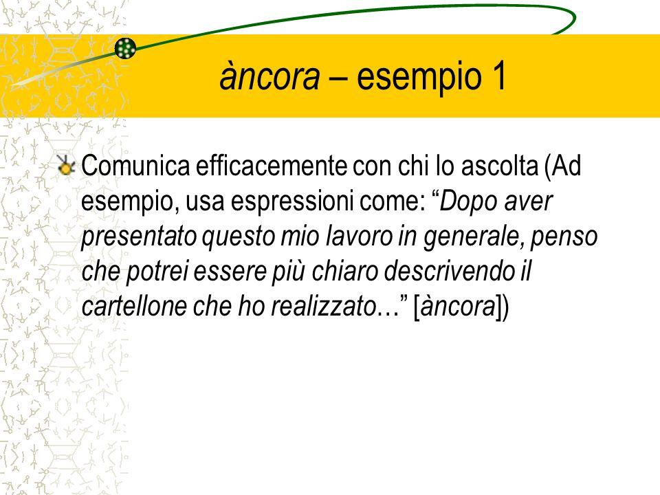 àncora – esempio 1 Comunica efficacemente con chi lo ascolta (Ad esempio, usa espressioni come: Dopo aver presentato questo mio lavoro in generale, pe
