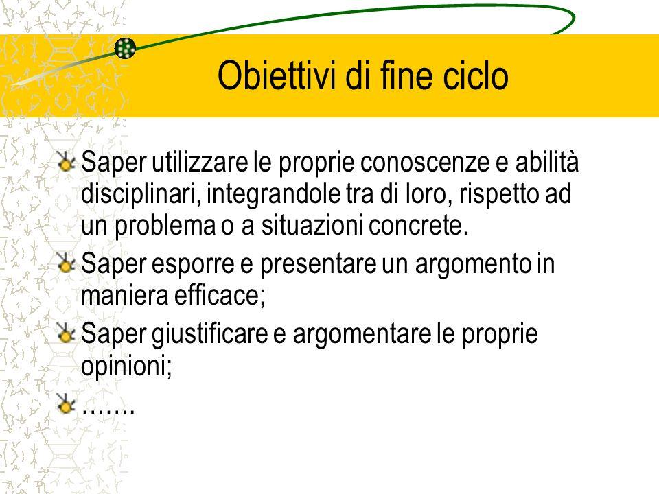 Obiettivi di fine ciclo Saper utilizzare le proprie conoscenze e abilità disciplinari, integrandole tra di loro, rispetto ad un problema o a situazion