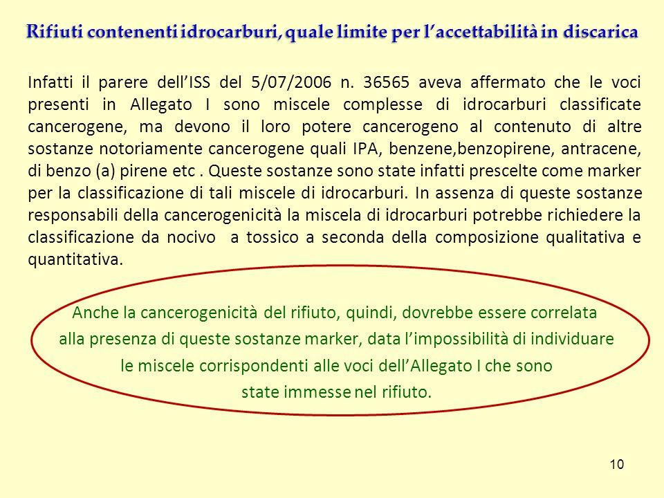 Infatti il parere dellISS del 5/07/2006 n. 36565 aveva affermato che le voci presenti in Allegato I sono miscele complesse di idrocarburi classificate