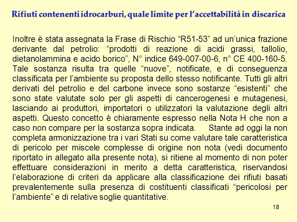 Inoltre è stata assegnata la Frase di Rischio R51-53 ad ununica frazione derivante dal petrolio: prodotti di reazione di acidi grassi, tallolio, dieta
