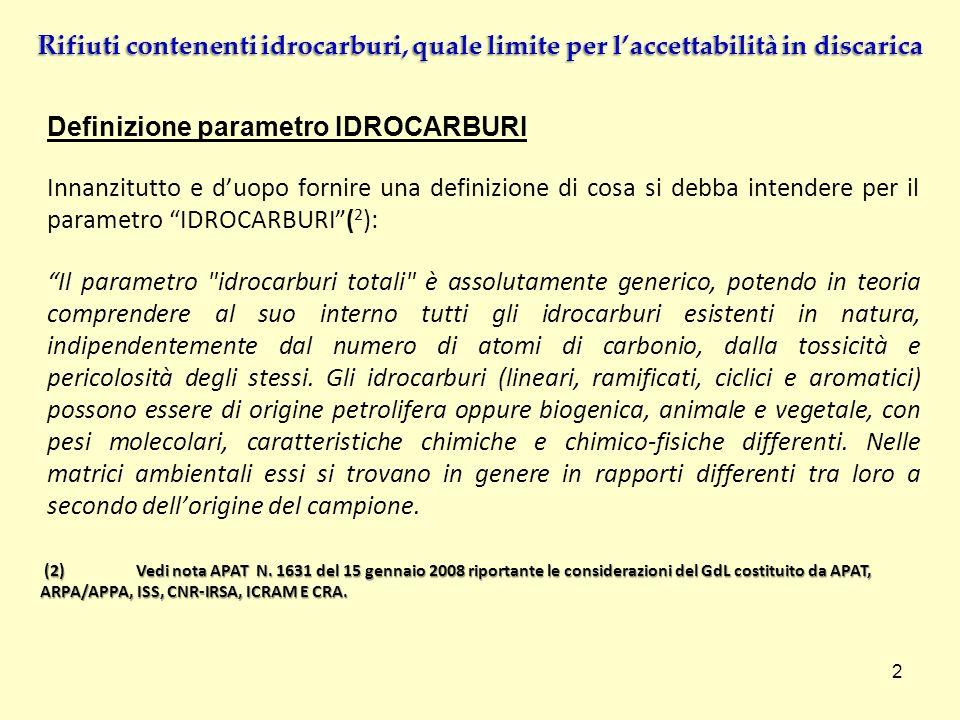 Definizione parametro IDROCARBURI Innanzitutto e duopo fornire una definizione di cosa si debba intendere per il parametro IDROCARBURI( 2 ): Il parame