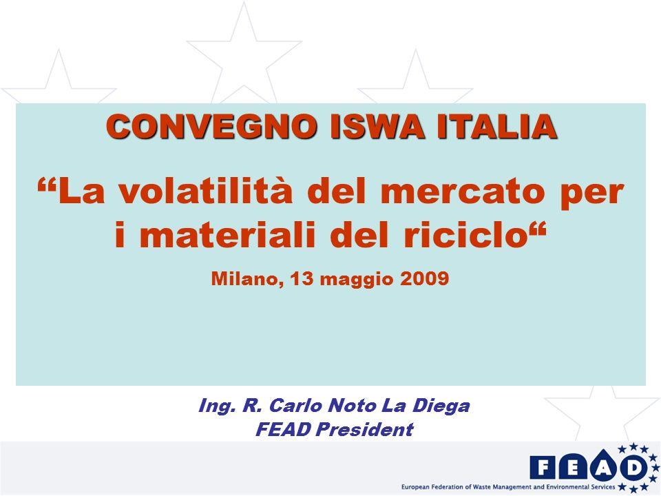 1 CONVEGNO ISWA ITALIA La volatilità del mercato per i materiali del riciclo Milano, 13 maggio 2009 Ing.