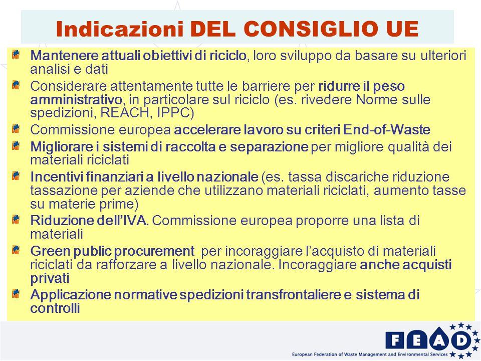 30 Indicazioni DEL CONSIGLIO UE Mantenere attuali obiettivi di riciclo, loro sviluppo da basare su ulteriori analisi e dati Considerare attentamente tutte le barriere per ridurre il peso amministrativo, in particolare sul riciclo (es.
