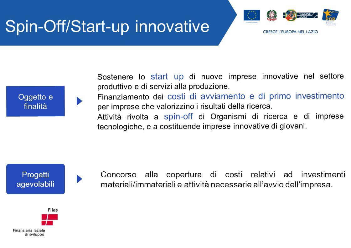 Spin-Off/Start-up innovative Progetti agevolabili Concorso alla copertura di costi relativi ad investimenti materiali/immateriali e attività necessarie allavvio dellimpresa.