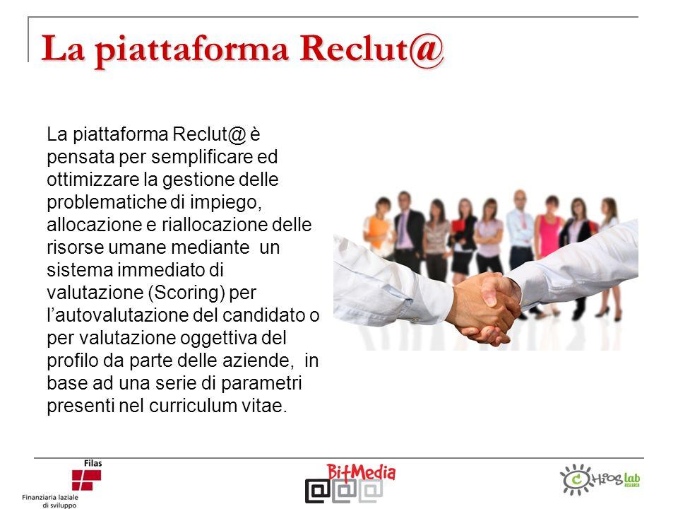 La piattaforma Reclut@ La piattaforma Reclut@ è pensata per semplificare ed ottimizzare la gestione delle problematiche di impiego, allocazione e rial