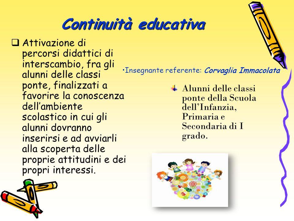 Continuità educativa Attivazione di percorsi didattici di interscambio, fra gli alunni delle classi ponte, finalizzati a favorire la conoscenza dellam