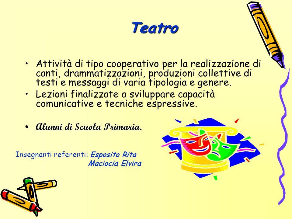 Teatro Attività di tipo cooperativo per la realizzazione di canti, drammatizzazioni, produzioni collettive di testi e messaggi di varia tipologia e ge