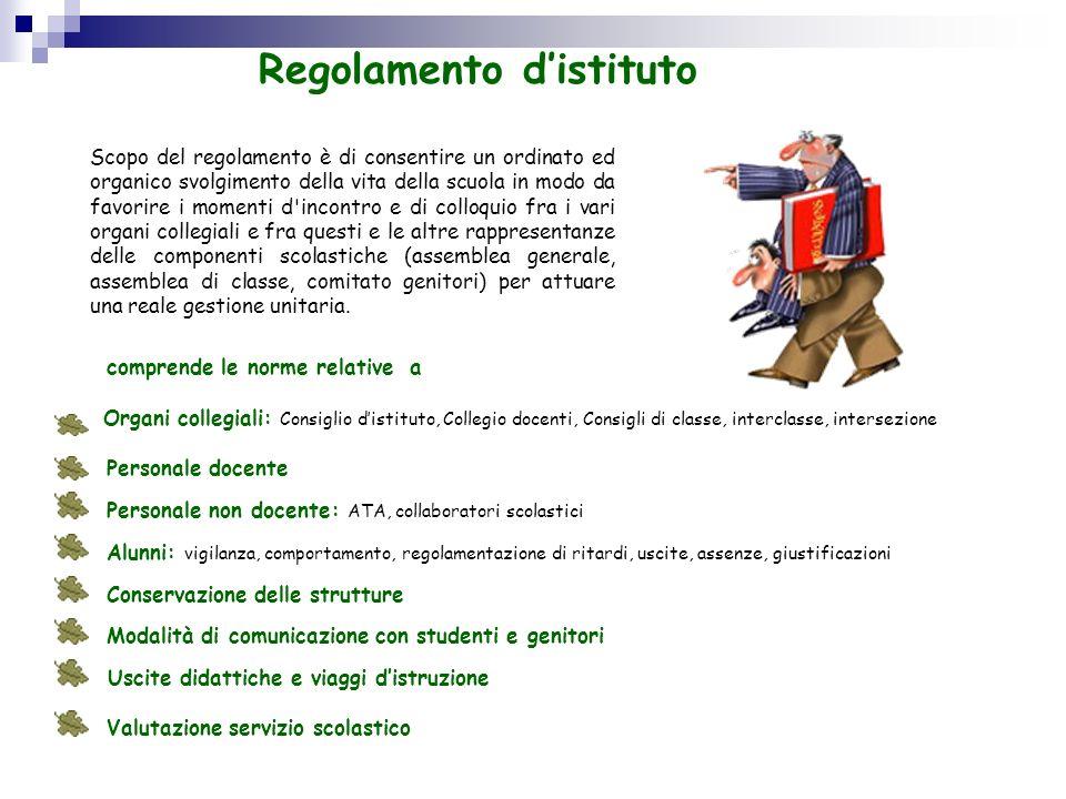 Regolamento distituto Scopo del regolamento è di consentire un ordinato ed organico svolgimento della vita della scuola in modo da favorire i momenti