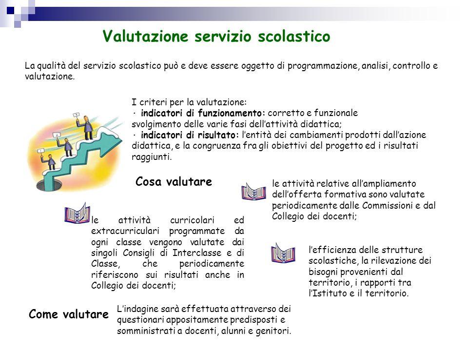 La qualità del servizio scolastico può e deve essere oggetto di programmazione, analisi, controllo e valutazione. I criteri per la valutazione: indica