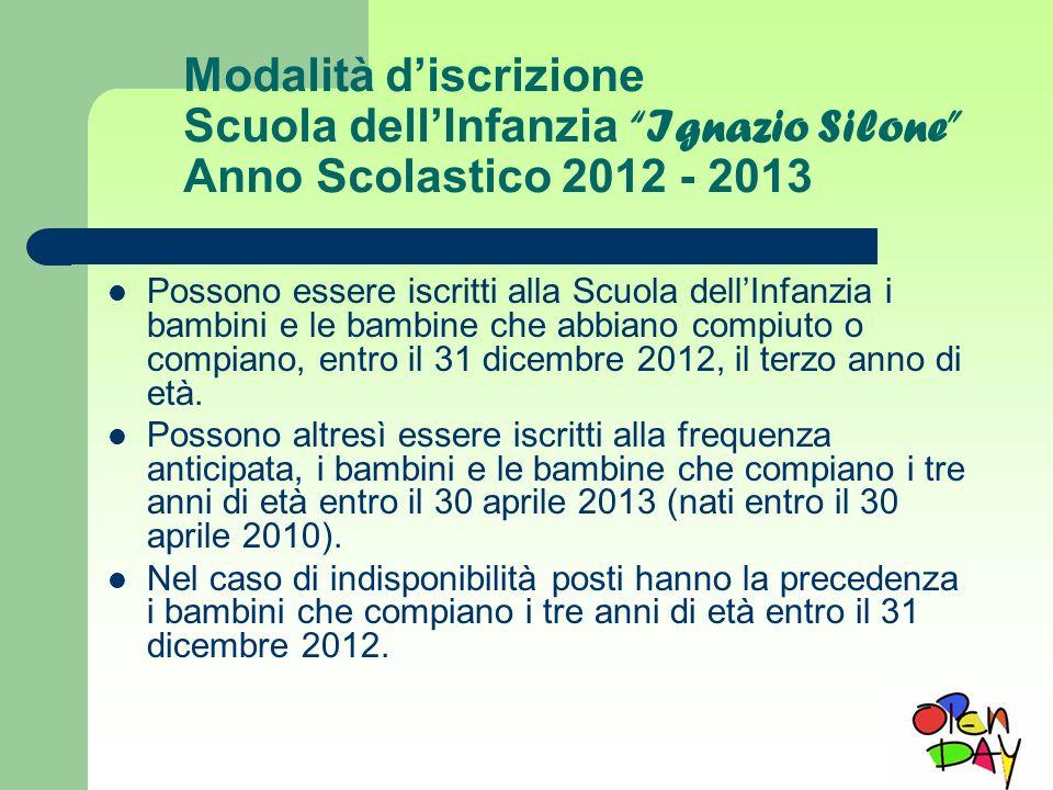 Modalità discrizione Scuola dellInfanzia Ignazio Silone Anno Scolastico 2012 - 2013 Possono essere iscritti alla Scuola dellInfanzia i bambini e le ba