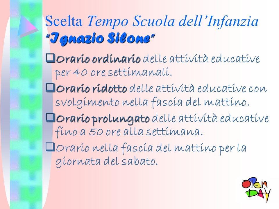 Ignazio Silone Scelta Tempo Scuola dellInfanzia Ignazio Silone Orario ordinario Orario ordinario delle attività educative per 40 ore settimanali. Orar