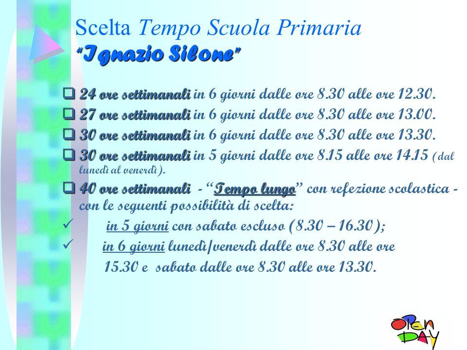 Ignazio Silone Scelta Tempo Scuola Primaria Ignazio Silone 24 ore settimanali 24 ore settimanali in 6 giorni dalle ore 8.30 alle ore 12.30. 27 ore set