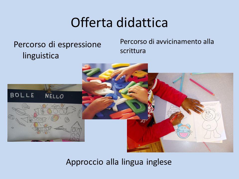 Offerta didattica Percorso di avvicinamento alla scrittura Percorso di espressione linguistica Approccio alla lingua inglese