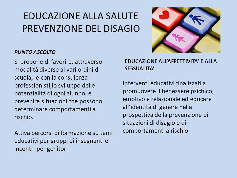 EDUCAZIONE ALLA SALUTE PREVENZIONE DEL DISAGIO PUNTO ASCOLTO Si propone di favorire, attraverso modalità diverse ai vari ordini di scuola, e con la co