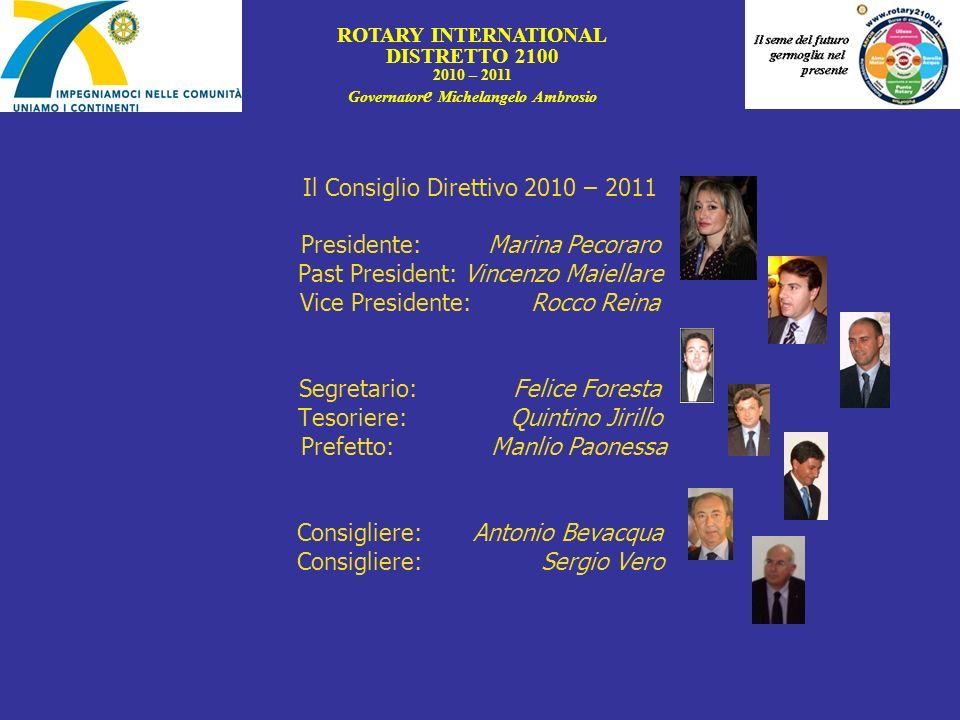 Il Consiglio Direttivo 2010 – 2011 Presidente: Marina Pecoraro Past President: Vincenzo Maiellare Vice Presidente: Rocco Reina Segretario: Felice Fore