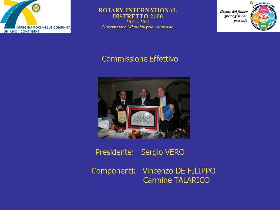 Commissione Effettivo Presidente: Sergio VERO Componenti: Vincenzo DE FILIPPO Carmine TALARICO ROTARY INTERNATIONAL DISTRETTO 2100 2010 – 2011 Governa