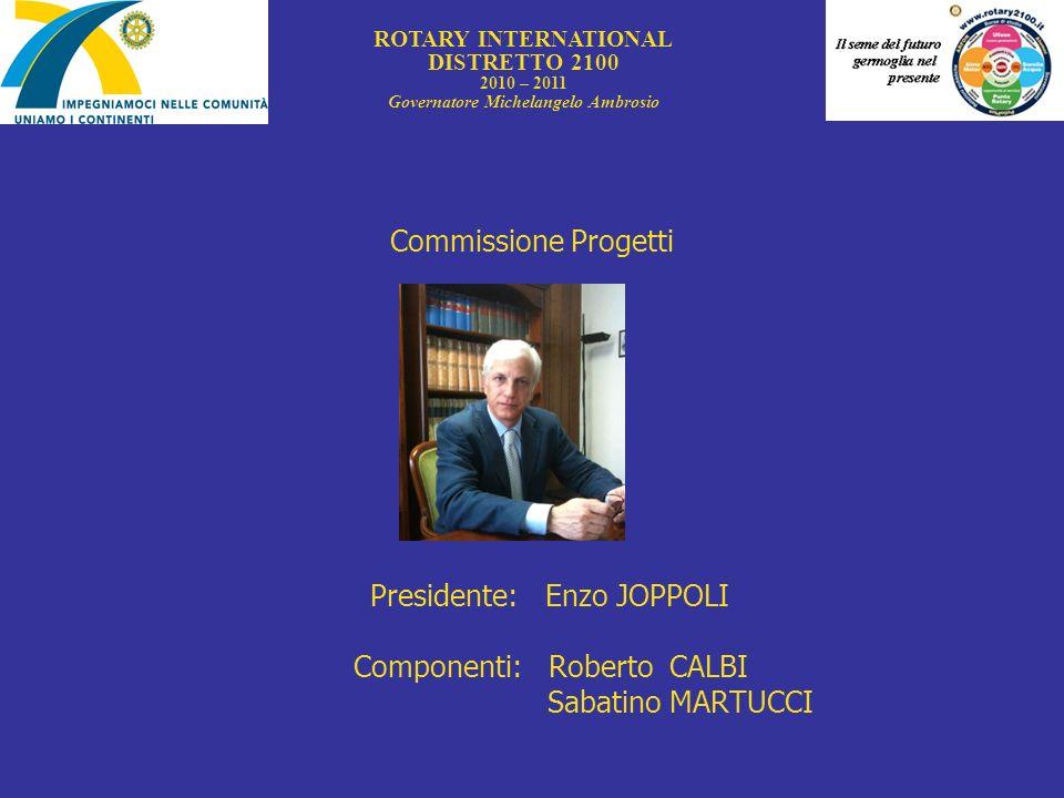 Commissione Progetti Presidente: Enzo JOPPOLI Componenti: Roberto CALBI Sabatino MARTUCCI ROTARY INTERNATIONAL DISTRETTO 2100 2010 – 2011 Governatore