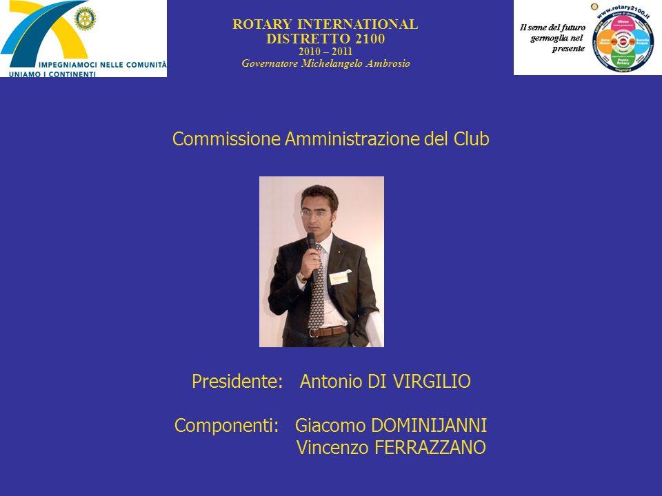 Commissione Amministrazione del Club Presidente: Antonio DI VIRGILIO Componenti: Giacomo DOMINIJANNI Vincenzo FERRAZZANO ROTARY INTERNATIONAL DISTRETT