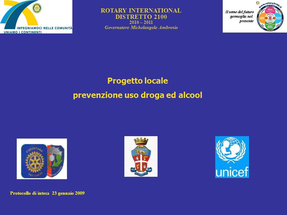 ROTARY INTERNATIONAL DISTRETTO 2100 2010 – 2011 Governatore Michelangelo Ambrosio Progetto locale prevenzione uso droga ed alcool Protocollo di intesa