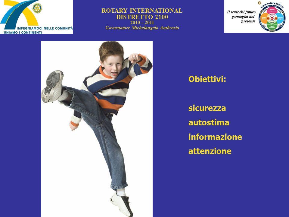 ROTARY INTERNATIONAL DISTRETTO 2100 2010 – 2011 Governatore Michelangelo Ambrosio Obiettivi: sicurezza autostima informazione attenzione