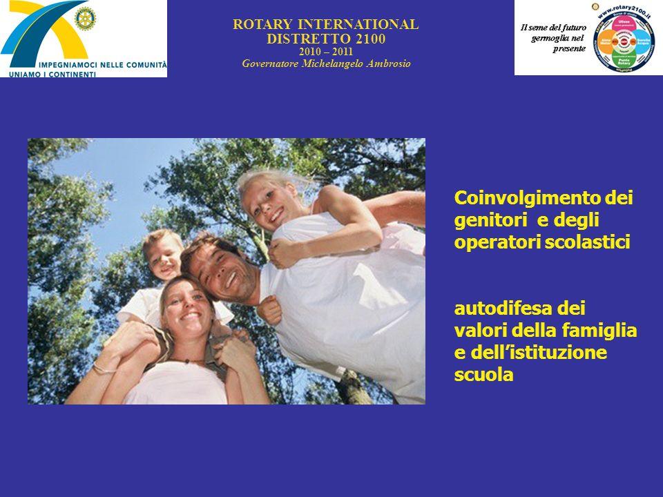 ROTARY INTERNATIONAL DISTRETTO 2100 2010 – 2011 Governatore Michelangelo Ambrosio Coinvolgimento dei genitori e degli operatori scolastici autodifesa