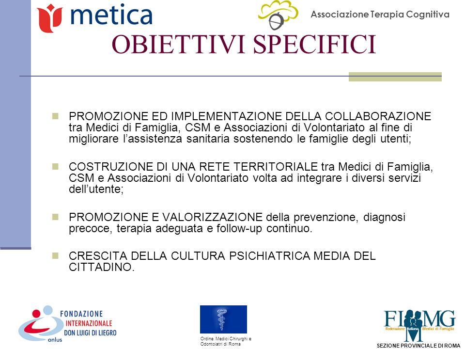 Associazione Terapia Cognitiva SEZIONE PROVINCIALE DI ROMA Ordine Medici Chirurghi e Odontoiatri di Roma OBIETTIVI SPECIFICI PROMOZIONE ED IMPLEMENTAZIONE DELLA COLLABORAZIONE tra Medici di Famiglia, CSM e Associazioni di Volontariato al fine di migliorare lassistenza sanitaria sostenendo le famiglie degli utenti; COSTRUZIONE DI UNA RETE TERRITORIALE tra Medici di Famiglia, CSM e Associazioni di Volontariato volta ad integrare i diversi servizi dellutente; PROMOZIONE E VALORIZZAZIONE della prevenzione, diagnosi precoce, terapia adeguata e follow-up continuo.
