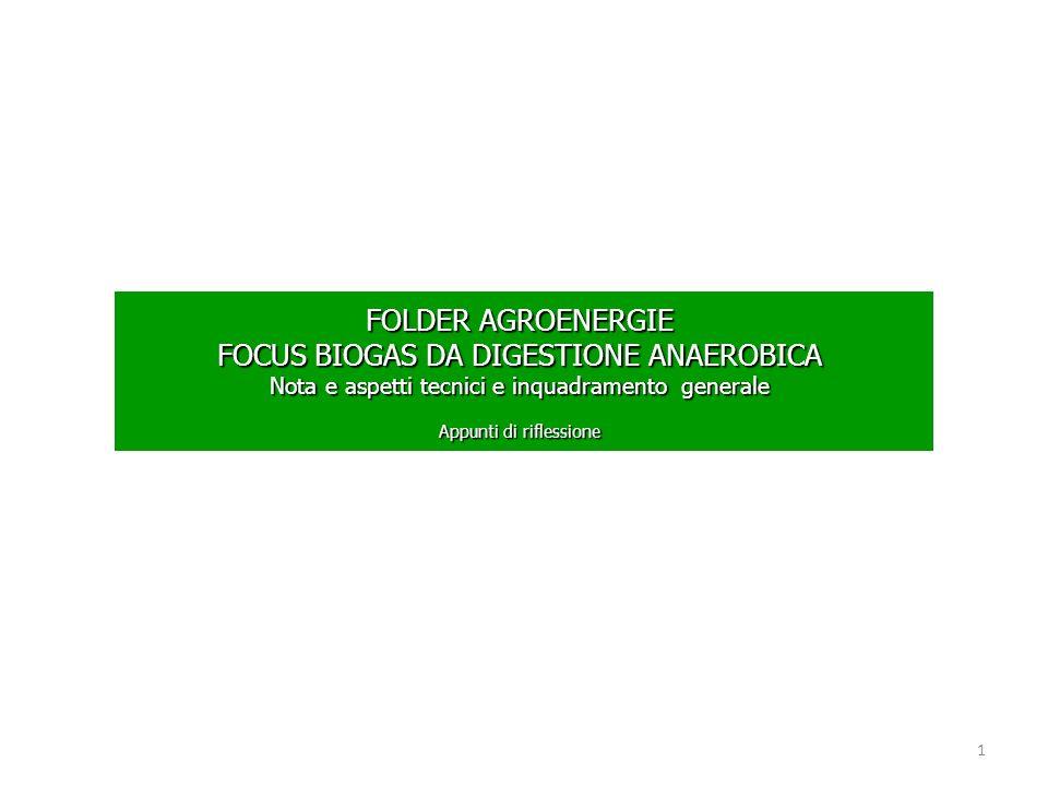 FOLDER AGROENERGIE FOCUS BIOGAS DA DIGESTIONE ANAEROBICA Nota e aspetti tecnici e inquadramento generale Appunti di riflessione 1
