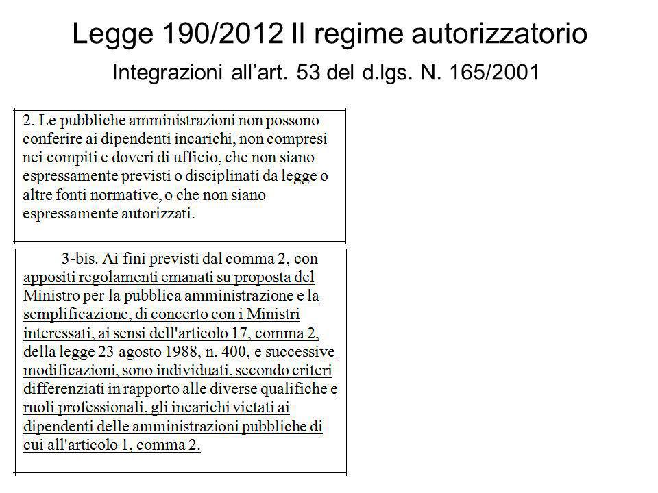 Legge 190/2012 Il regime autorizzatorio Integrazioni allart. 53 del d.lgs. N. 165/2001