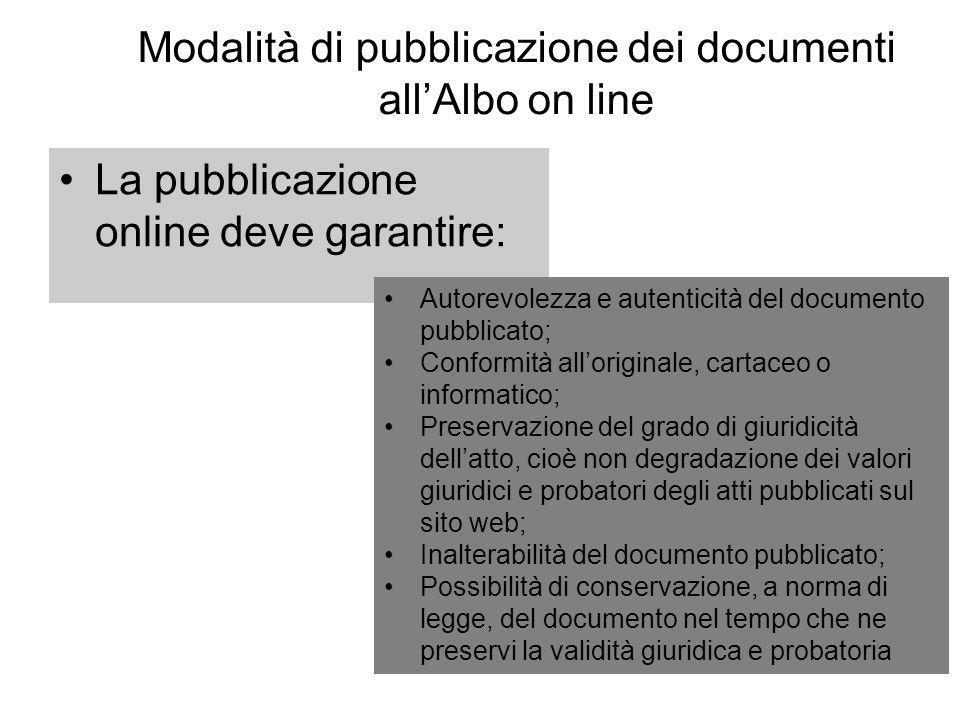 Modalità di pubblicazione dei documenti allAlbo on line La pubblicazione online deve garantire: Autorevolezza e autenticità del documento pubblicato;