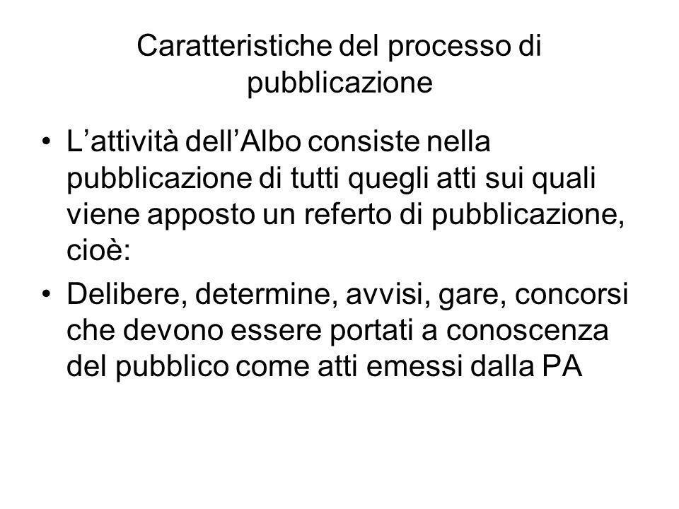 Caratteristiche del processo di pubblicazione Lattività dellAlbo consiste nella pubblicazione di tutti quegli atti sui quali viene apposto un referto