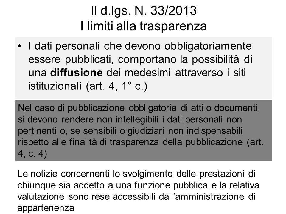 Il d.lgs. N. 33/2013 I limiti alla trasparenza I dati personali che devono obbligatoriamente essere pubblicati, comportano la possibilità di una diffu