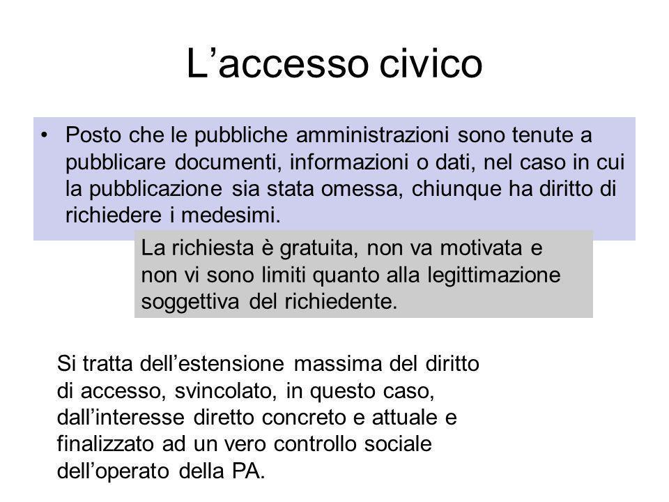 Laccesso civico Posto che le pubbliche amministrazioni sono tenute a pubblicare documenti, informazioni o dati, nel caso in cui la pubblicazione sia stata omessa, chiunque ha diritto di richiedere i medesimi.