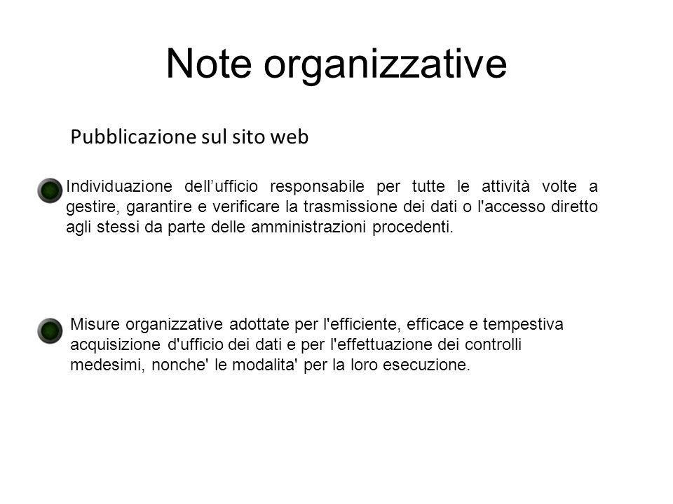 Note organizzative Pubblicazione sul sito web Individuazione dellufficio responsabile per tutte le attività volte a gestire, garantire e verificare la trasmissione dei dati o l accesso diretto agli stessi da parte delle amministrazioni procedenti.